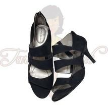 """Bandolino BD7MARISHA Women's Black Open toe Strappy Suede 3"""" Heels Sz 8M - $18.88"""