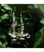 Haunted A wish A day Genie Lamp Earrings Never Ending powerful Magick Djinn - $35.00