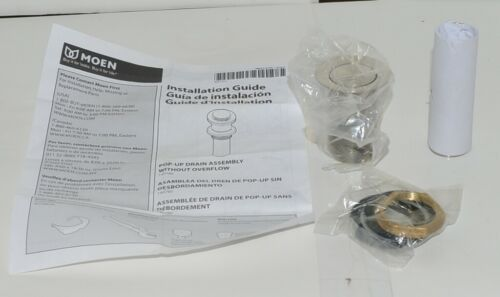 Moen 140780BN Push Lock Drain Assembly Brushed Nickel Without Overflow