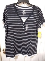 Women's Made For Life Short Sleeve Layered T Shirt Navy Stripe Size Large NEW - $14.84