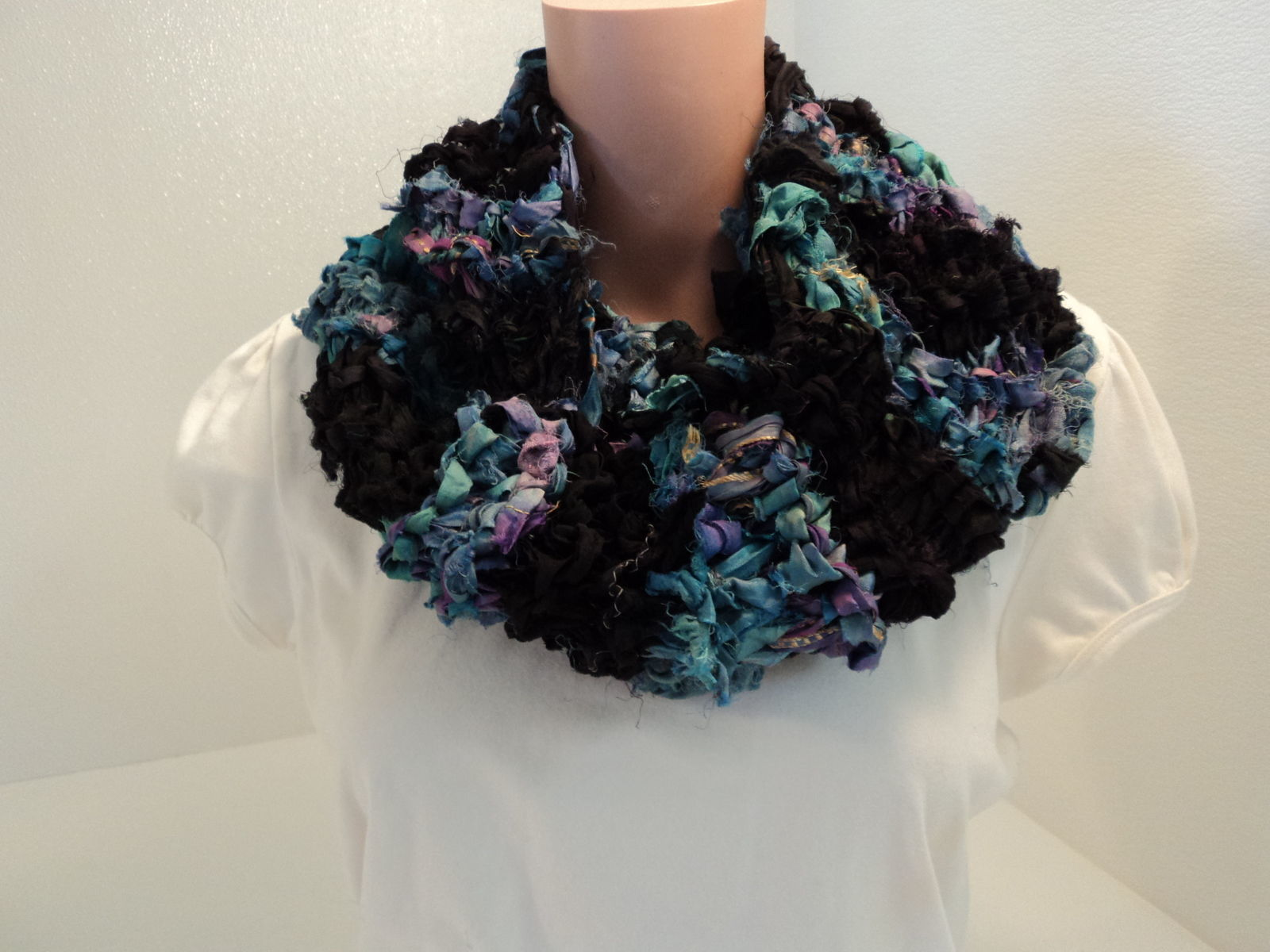 Handcrafted Wrap Cowl Blue Black Recycled Silk Ribbon Female Striped