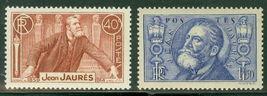 1936 Jean Jaures Set of 2 France Postage Stamps Catalog Number 313-14 MNH