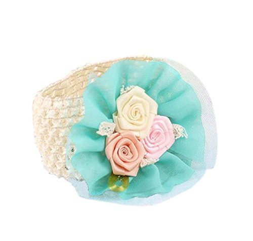 Elegant Green Rose Girl Headdress Lace Headband Baby Accessories