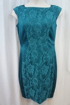 Sangria Dress Sz 12 Green Cap Sleeve Laced Cocktail Nylon Evening Dinner... - $60.78