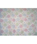 White with Red Blue Green Gingham Circles Cotton Fabric Light Weight  - $7.99