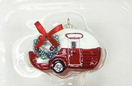 2ct Handcrafted Glass Christmas Ornament Set Red Truck and Trailer - Wondershop image 3