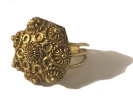Vintage Intricate Floral Adjustable Metal Ring - $8.95