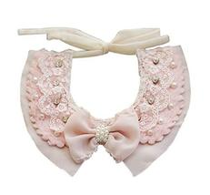 PANDA SUPERSTORE Lovely Pink Pet Collar with Pearl Bowknot Princess Dog Cat Cost