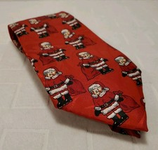 Fratello Red Mens Tie Necktie Christmas Santa Claus Bear 100% Polly Hand... - $9.65