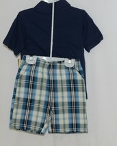 Little Rebels SK8 Club Polo Shirt Short Set Blue Plaid Size 12 Months image 2