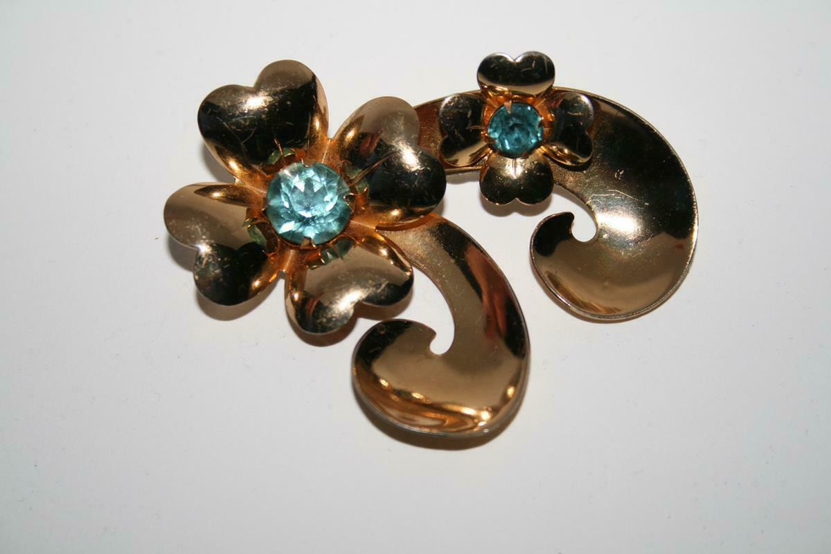 Coro Vintage Large Gold Tone Flower with Aqua Crystals Brooch  J391