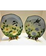Pacific Rim Exclusives Hand Painted HUMMINGBIRD Set of 2 Plates ODD SHAP... - $19.75