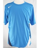 NIke L Large Light Blue with Navy and White Detail Fit Dry Shirt Running - $29.94