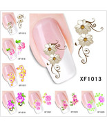 Nail Art Water Transfer Stickers Flower Butterfly Cat Decals Tips Decora... - $2.79