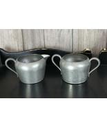 Vintage Marion Pewter Creamer Pitcher Sugar Bowl Set Hammered Metal 724 - $19.79