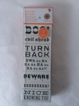 Set 7 Martha Stewart Spooky Phrase Rubber Ink Stamps Beware Boo Scary Evil Ahead - $11.57