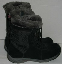 Womens 9 Merrell Black Suede Leather Gray Faux Fur Side Zip Winter Boots - $37.62