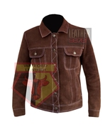 1055 BROWN MEN'S SUEDE LEATHER WESTERN STYLE LEATHER JACKET - $198.99