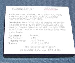 PHONOGRAPH TURNTABLE UPGRADE NEEDLE STYLUS for use in CROSLEY Players 793-D7M image 3