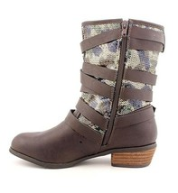 Not Rated Women's Chocolate Brown Camouflage Sequin Big Deal Mid Calf Boots NIB image 2