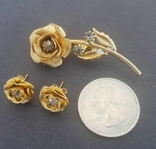 Vintage ROSE BROOCH & PIERCED EARRINGS Gold Tone Rhinestones Classic Classy - $13.77