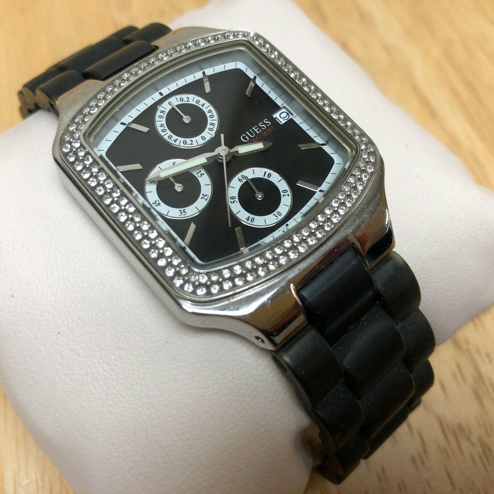 GUESS Lady 50m Silver Black Analog Quartz Chronograph Watch Hour~Date~New Batter
