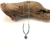Vintage Southwestern sterling silver multi color necklace w/ inlay pendant - $29.69