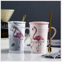 SWEETCAN Simple Flamingo Ceramic Cup, Gift Set Cup, Covered Spoon, Marbl... - $19.13