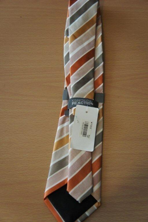 Kenneth Cole Reaction Men's Tie Orange Multi Prince Stripe Classic Necktie  image 3
