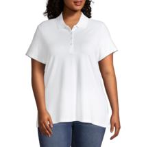 St. John's Bay Plus Short Sleeve Knit Polo Shirt Size 3X White New - $9.99
