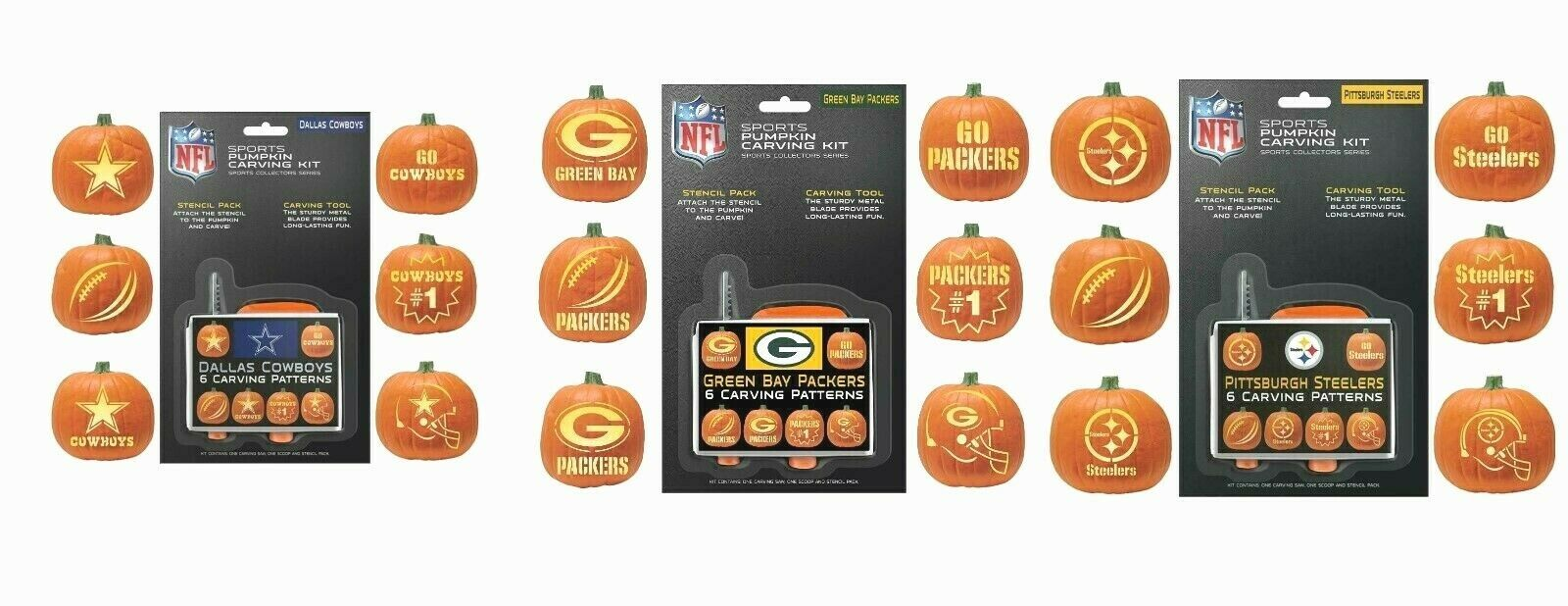NFL TEAM HALLOWEEN PUMPKIN CARVING KIT WITH 6 STENCILS -CHOOSE YOUR TEAM - $7.99