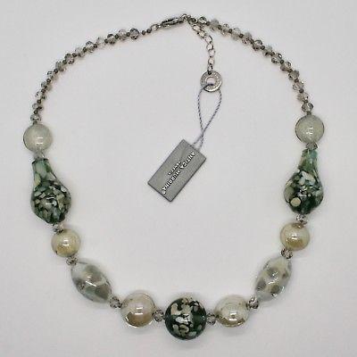NECKLACE ANTIQUE MURRINA VENICE WITH MURANO GLASS BEIGE SMOKY' GREEN COA77A34
