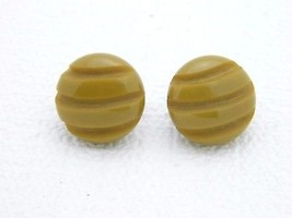 VTG Silver Toned Custard Yellow Brown Carved Bakelite Tested Clip Earrings - $49.50