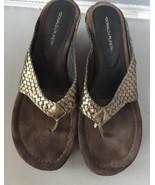 Donald J PlinerGilles Metallic Woven Thong Wedge Sandal, Pewter Size 11 - $24.95