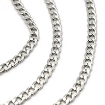 18K WHITE GOLD GOURMETTE CUBAN CURB CHAIN 2 MM, 17.7 inches, NECKLACE image 3