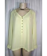 Soft Surroundings Sz M Yellow Partial Button Front L/S Tunic Shirt Top P... - $18.99