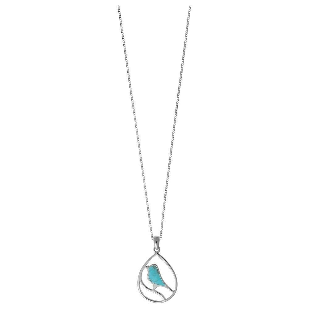 925 Sterling Silver Turquoise Bird Pendant Necklace with 16 inches Chain