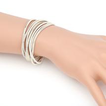 Gold Tone With White Overlay Multi Strand Designer Bracelet-United Elegance - $14.99