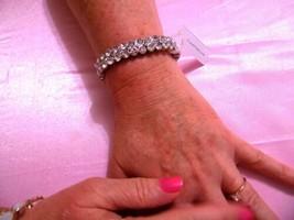 "Charter Club 7"" Silver Tone Simulated Diamond Stretch Bracelet F262 $38 - $14.39"