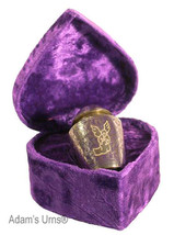 Silver Angel, Brass Funeral Cremation Urn Keepsake w. Velvet Heart Box, 3 Inches - $44.99