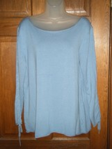 Newport News Shape FX Blue Scoop Neck Lace Up Sleeves Thin Knit Sweater - Sz 2X - $13.85