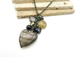 Cookie Lee Gunmetal Smoke Gray Gold Blue Glass Heart Charm Necklace GG44... - $21.99