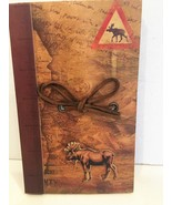 New Wyoming country 3-D Elk wilderness motif 110 page journal with rawhi... - $15.79