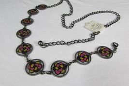 Donna Peltro Metallo Bling Moda Cintura Rosa Fiore Giallo Ciondolo Hip Vita S M image 2