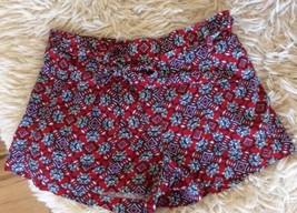 Jessica Simpson Dress Shorts Elastic Back Waist Tie Belt Red Blue Womens L - $10.99