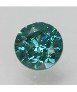 0.53 Carat Vivid Greenish Blue Round Brilliant Enhanced Natural Diamond ... - $353.19