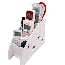 White Remote Control Holder Caddy, Coideal 4 Compartments Carving Detach... - $13.76