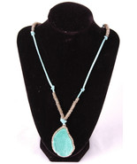 "Necklace-Leather & Metal Rings-25""-Faux Stone Pendant-Jewelry-Dangle - $21.49"