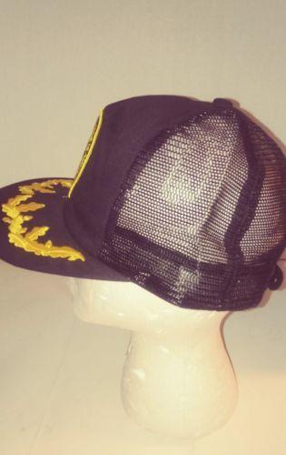 bba42c1cf67bb Vintage 80s New NRA National Rifle Association Gold Leaf Mesh Trucker Hat  Black