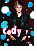 Cody Simpson teen magazine pinup clipping black leather jacket J-14 smil... - $3.50